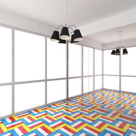 ballet dancing: Modern colorful empty room