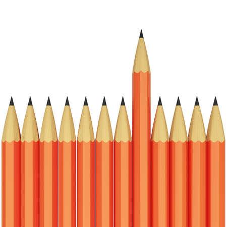 Orange pencils isolated on white background. Conception of  leadership