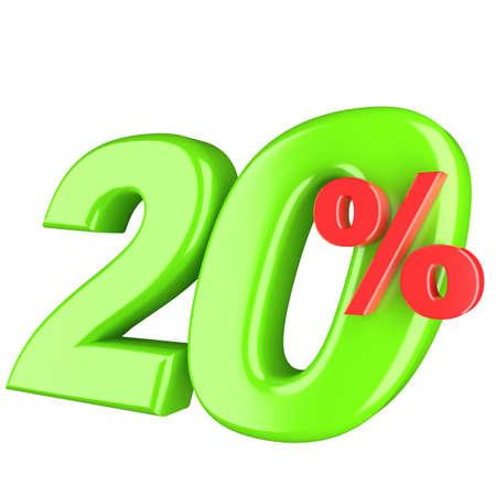 sale off: Twenty percent. 3d render illustration isolated on white background Stock Photo
