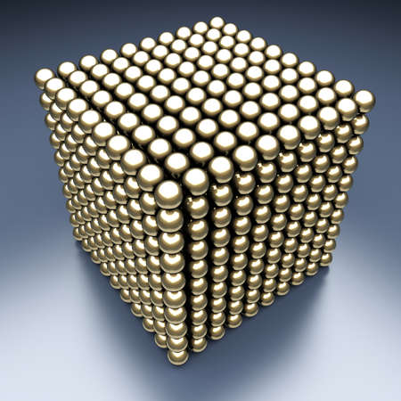 Golden energy cube from the balls. 3d render illustration illustration