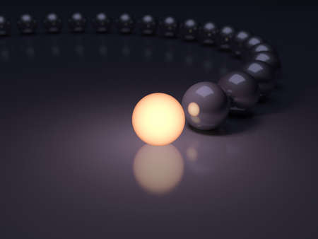 Unique luminous sphere. Leadership concept. 3d illustration with DOF