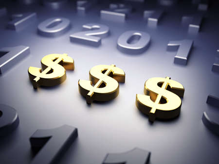 Golden signs of dollar are in focus on dark background. 3d render illustration Фото со стока