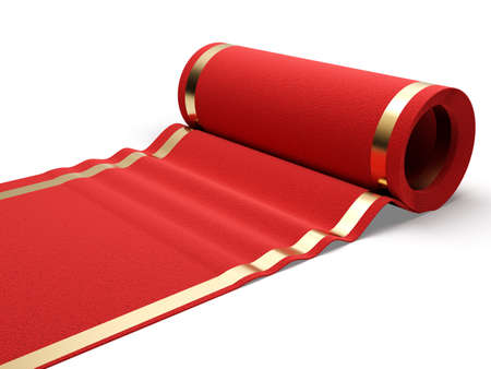 vip: Classic rolling red carpet on white background  3d render illustration