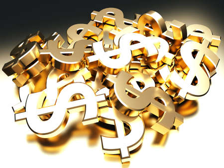 Heap of golden dollar signs  3d render illustration