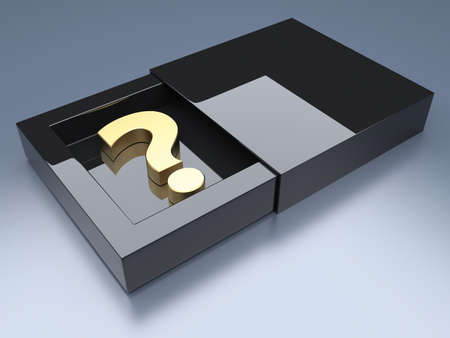 questionable: Question mark in black glossy opened box  3d render illustration Stock Photo