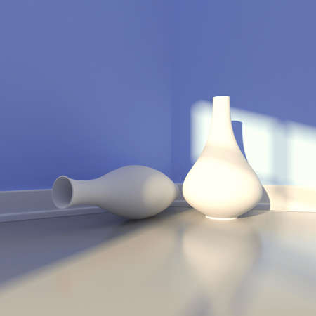plinth: Two vases near a wall in a sun spot  3d render illustration Stock Photo