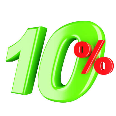 procent: Ten percent  3d render isolated Stock Photo
