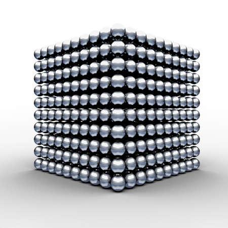 Cube from magnetic balls  3d render illustration illustration