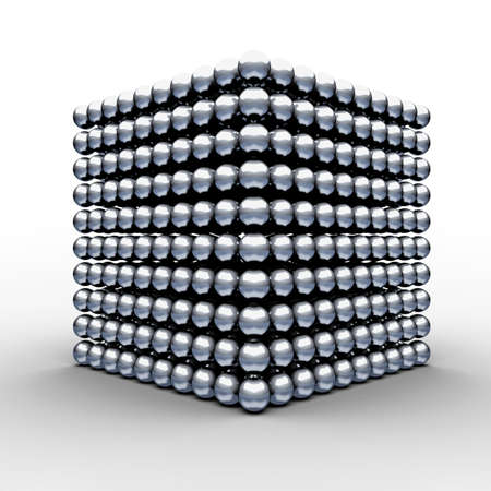 Cube from magnetic balls  3d render illustration Фото со стока