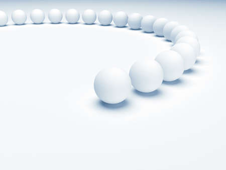 constancy: Row from white balls  3d render illustration