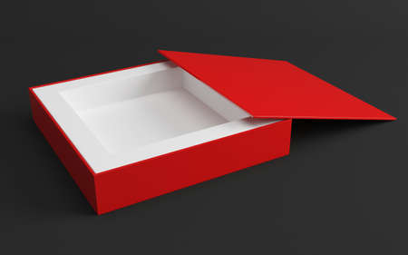 compact disk: Red box opened  3d render illustration Stock Photo