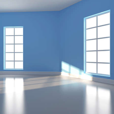 Empty room in blue colour  3d render Stock Photo - 17995798