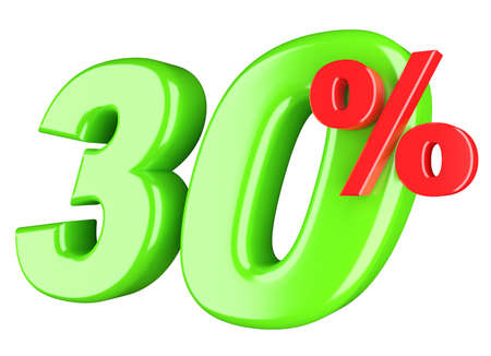 30 percent  3d render illustration isolated on white background Stock Illustration - 17995783