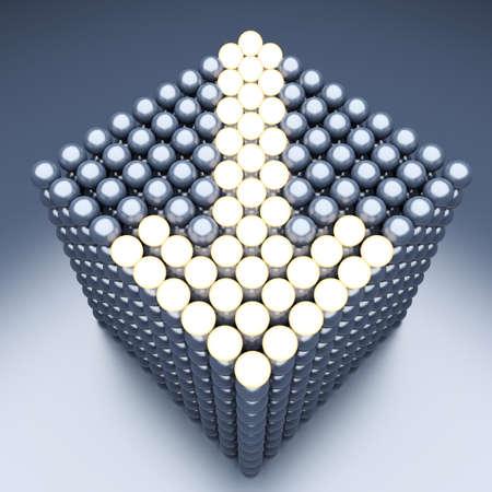 luminescent: Luminescent arrow from metallic balls