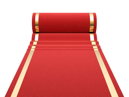 Red carpet at white background  3d render illustration