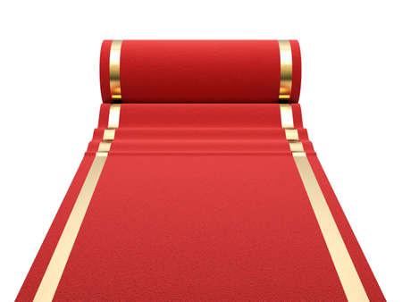Red carpet at white background  3d render illustration