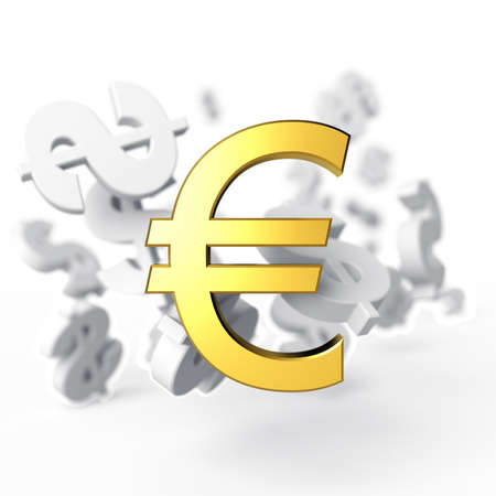 outflow: Euro on a background the flying away signs of dollar  3d render