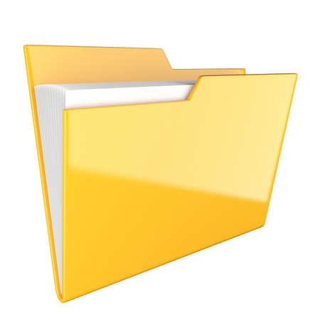 Shiny yellow folder icon isolated at white