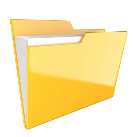 Shiny yellow folder icon isolated at white