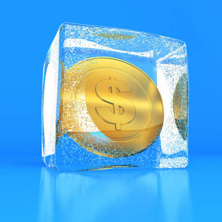 Coin by dignity in a dollar in the block of ice