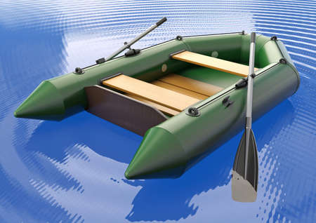 Inflatable rubber boat isolated on the water