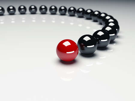 Red ball ahead of black balls  Conception of leadership  3d render Фото со стока