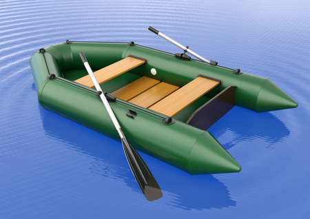 lifeboat: Inflatable rubber boat isolated on the water