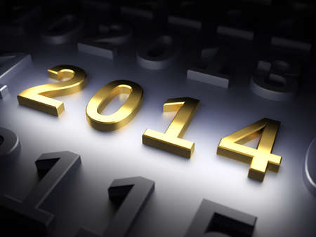 New Year 2014  3d render illustration illustration