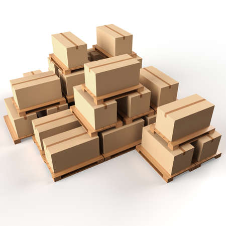 Warehouse  Cardboard boxes on wooden pallets photo