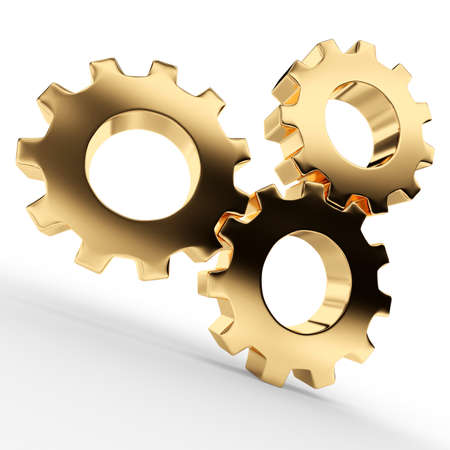 Golden cogwheels on white background  3d render illustration Фото со стока