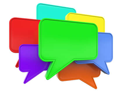 speach: Colorful blank speech bubbles isolated at white background  3d render illustration