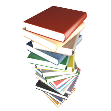 Pile of the coloured books isolated on a white background photo