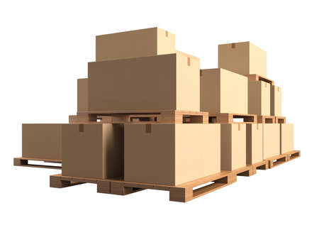 boxboard: Warehouse  Cardboard boxes on wooden pallets isolated on white background  3d render illustration