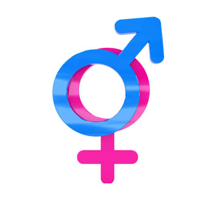 heterosexuality: Male and female signs isolated at white background Stock Photo