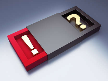 Black box with question and exclamation mark. 3d render illustration illustration