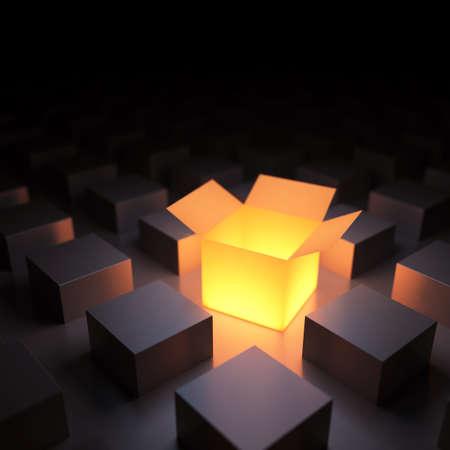 Unieke lichtgevende geopende doos. 3d render