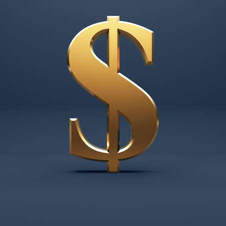 Golden dollar sign at dark blue background