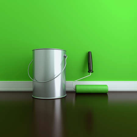 painting and decorating: Painting of walls in a green paint. Decorating of house. 3d render illustration Stock Photo