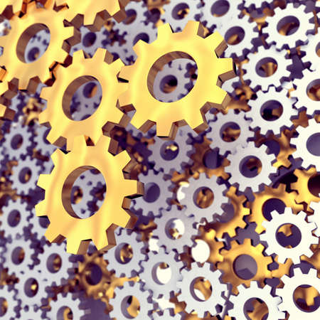 machined: Metal polished gears. 3d render illustration Stock Photo