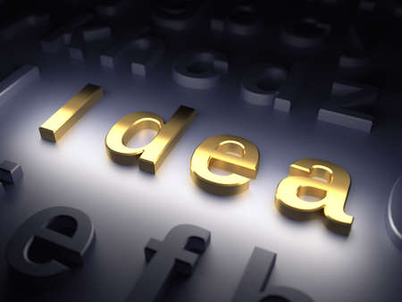 axiom: word Idea on dark background  3d render illustration Stock Photo