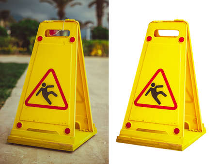 slippery: Warning Sign of wet floor and cleaning in progress isolated at white  Photo Stock Photo