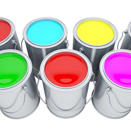 varicoloured: Paint cans with varicoloured paints Stock Photo