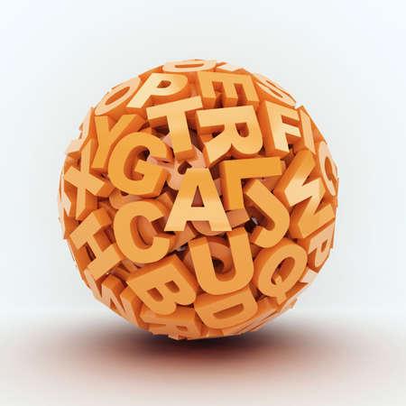 Ball from orange letters on white background  3d render illustration