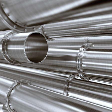 Metallic pipeline  3d render illustration illustration