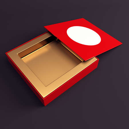 chocolate box: Red box opened  3d render illustration Stock Photo
