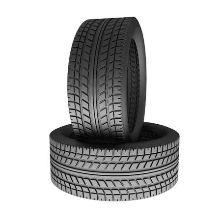 winter tires: Two tires isolated on white background  3d render illustration