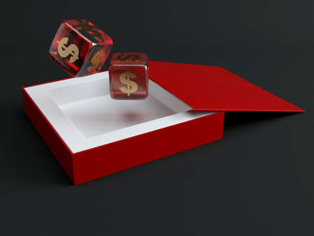 Dice with dollar sign. 3d render illustration Фото со стока