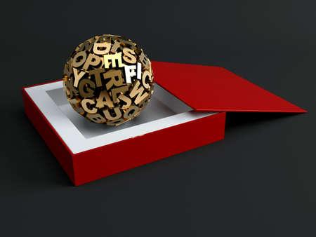 Sphere from golden letters. 3d render illustration