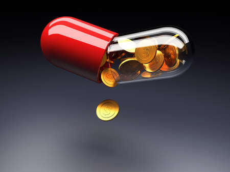 Golden coins with dollar sign pouring from an open medical capsule. 3d render illustration