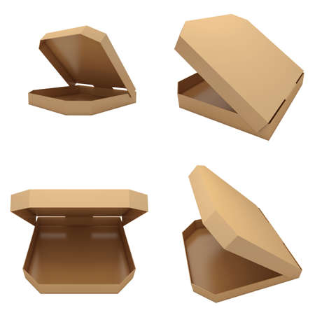 Four opened pizzas boxes isolated at white background. 3d render illustration Фото со стока